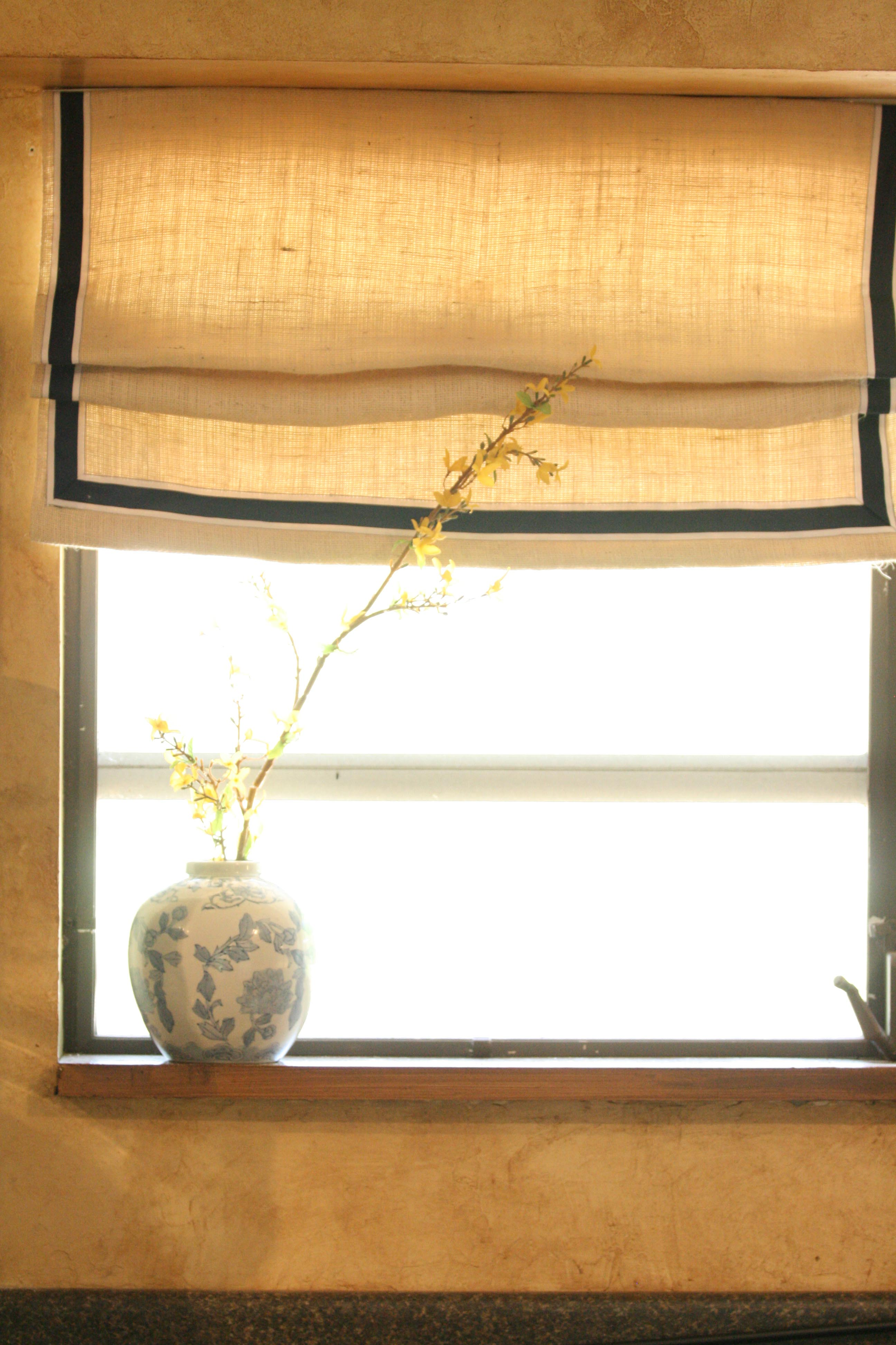 Faux Roman Shade Made From Burlap And Dropcloth Trimmed In Ribbon Mimzy Company