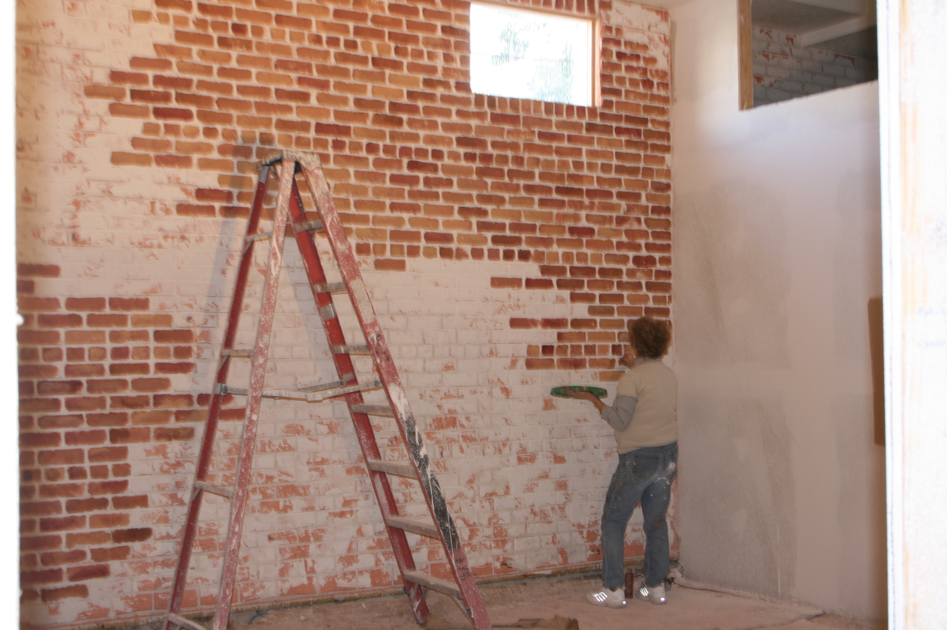 Design Faux Brick Walls create a faux brick wall mimzy company during first we covered the old too perfect with some
